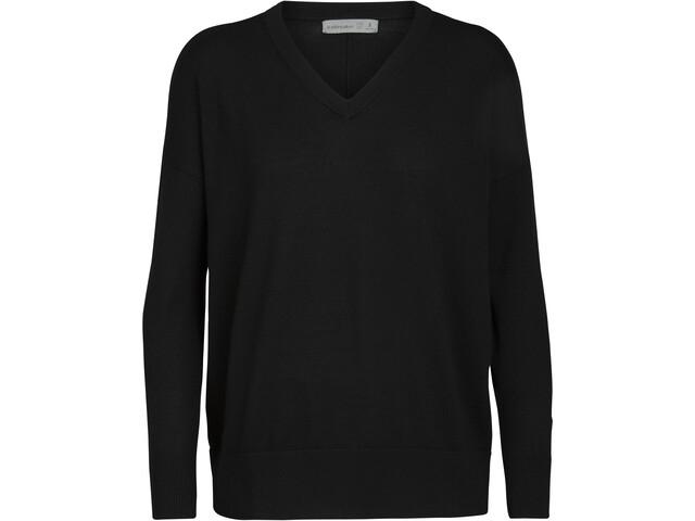Icebreaker Shearer V-hals sweater Damer, sort